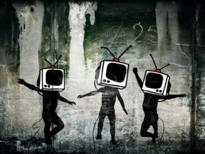 drawing of three bodies with televisions instead of their heads